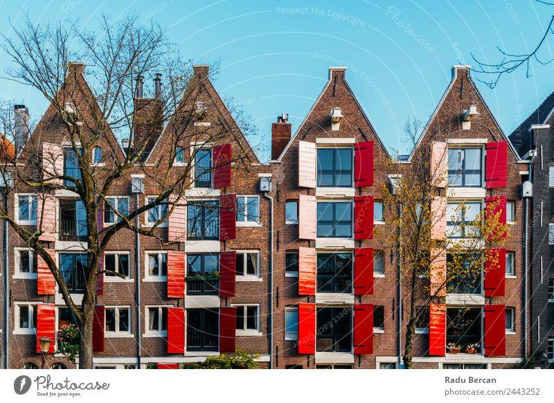 Schöne Architektur niederländischer Häuser in Amsterdam Stil Design Ferien & Urlaub & Reisen Tourismus Haus Herbst Kleinstadt Stadt Hauptstadt Stadtzentrum