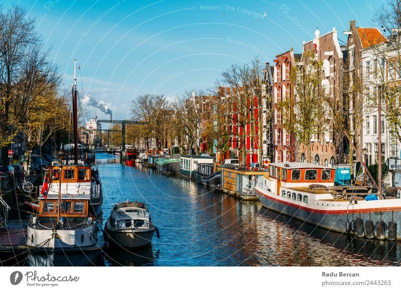 Schöne Architektur niederländischer Häuser am Amsterdamer Kanal Stil Ferien & Urlaub & Reisen Tourismus Ausflug Abenteuer Städtereise Häusliches Leben Wohnung