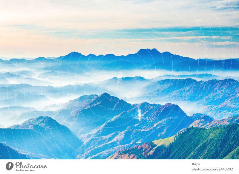 Landschaft mit Sonnenuntergang in blauen Bergen schön Ferien & Urlaub & Reisen Ausflug Abenteuer Berge u. Gebirge Natur Himmel Horizont Sonnenaufgang