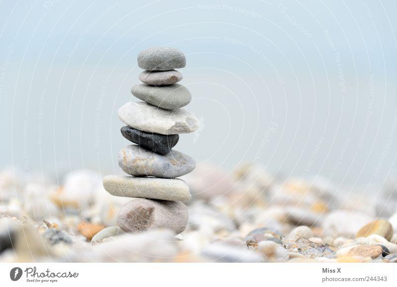 Steinmännle Zufriedenheit Stapel Steinmännchen Haufen Turm Kieselsteine Strand Küste grau Gleichgewicht Spitze bauen Farbfoto Gedeckte Farben Außenaufnahme