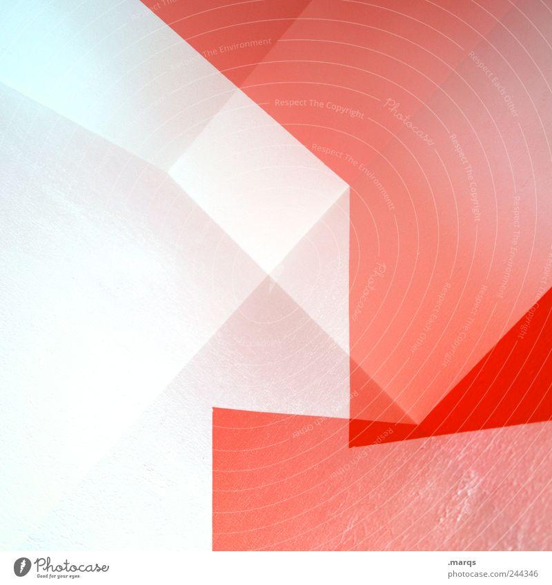 Straight Lifestyle Stil Design Innenarchitektur Architektur Mauer Wand Linie außergewöhnlich eckig hell trendy rot weiß ästhetisch Farbe Doppelbelichtung