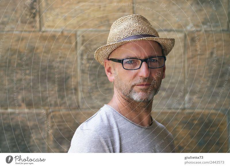 Augenblick | UT Dresden Mensch Mann Erwachsene Senior maskulin 45-60 Jahre 60 und älter 50 plus Brille Hut Bart Glatze Dreitagebart grauhaarig Strohhut