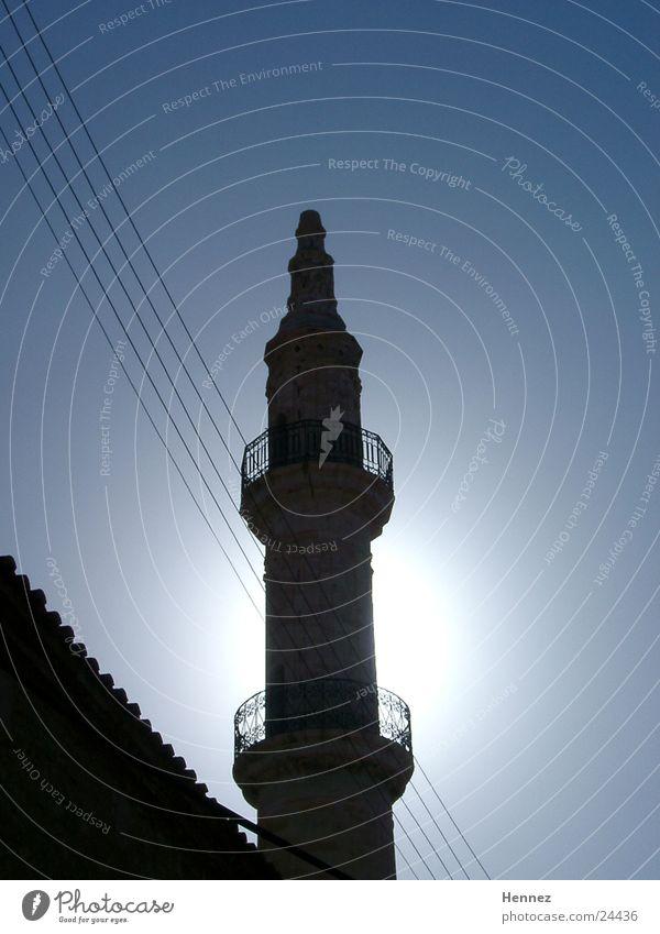 Minarett Agios Nikolaos Kreta Gegenlicht Europa Himmel blau