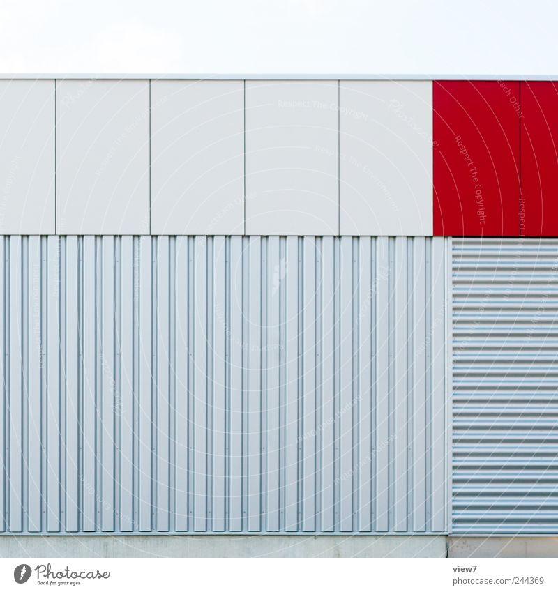 flächen Haus Bauwerk Architektur Fassade Stein Beton Metall Linie Streifen ästhetisch authentisch einfach frisch modern neu oben positiv schön rot Beginn Design