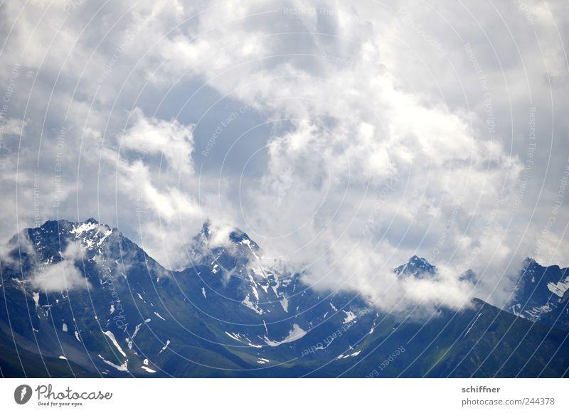 Gipfelschlagobers Landschaft Wolken Gewitterwolken Sommer Wetter schlechtes Wetter Regen Felsen Alpen Berge u. Gebirge Schneebedeckte Gipfel Gletscher