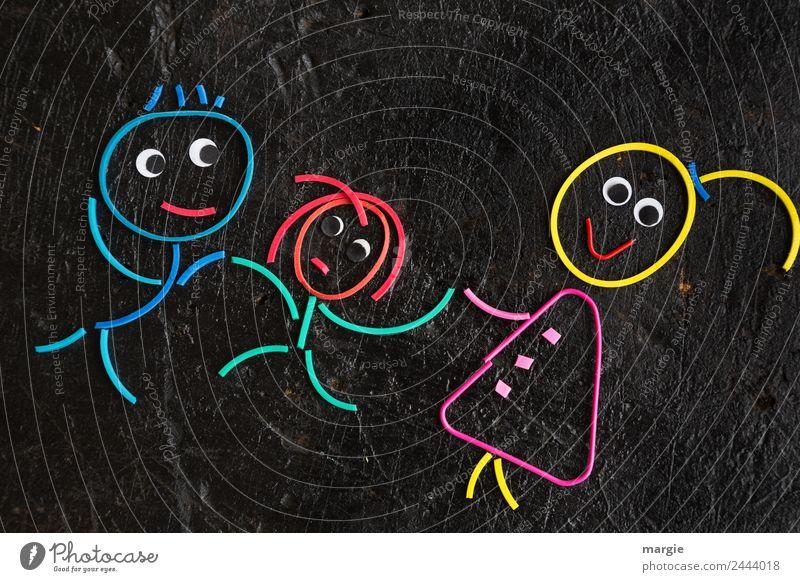 Gummiwürmer: Familie Frau Kind Mensch Mann Mädchen schwarz Erwachsene feminin Familie & Verwandtschaft Junge maskulin Mutter Eltern Kleinkind Vater androgyn