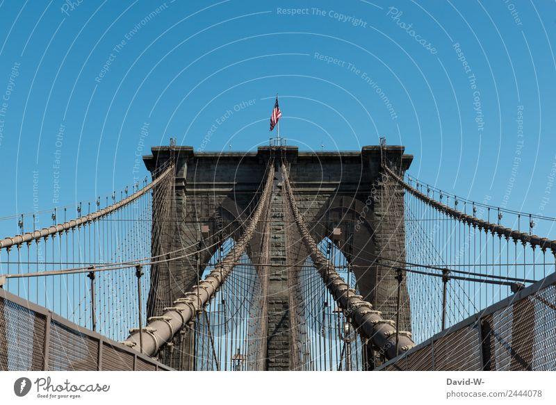 Brooklyn Bridge I Mensch Ferien & Urlaub & Reisen alt Architektur Lifestyle Stil Business Kunst Tourismus Ausflug Design elegant Erfolg Schönes Wetter Flügel