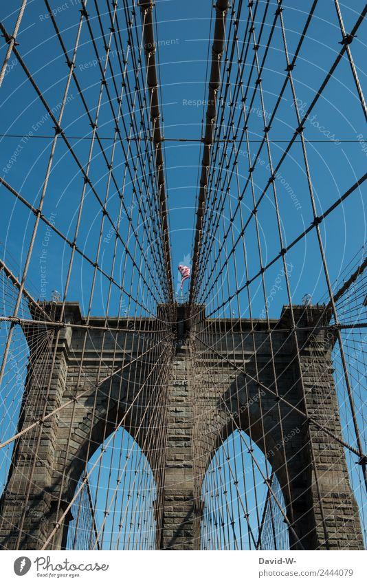 Brooklyn Bridge II Lifestyle Reichtum elegant Stil Design Ferien & Urlaub & Reisen Tourismus Ausflug Mensch Kunst Kunstwerk Architektur bevölkert überbevölkert