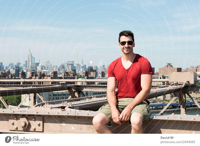 Urlaub in New York Mensch Ferien & Urlaub & Reisen Jugendliche Mann Stadt Junger Mann Freude Architektur Erwachsene Lifestyle Leben Stil Tourismus Ausflug