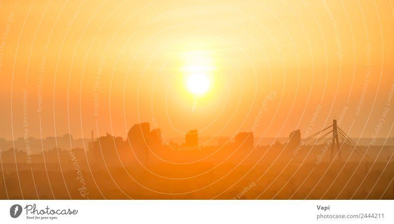 Sonnenuntergang in der Stadt schön Ferien & Urlaub & Reisen Business Himmel Sonnenaufgang Nebel Stadtzentrum Skyline Hochhaus Brücke Gebäude modern orange rot