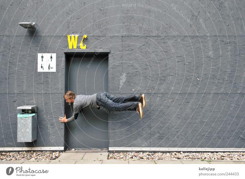 nothaltebucht Spielen Bad Mensch 1 30-45 Jahre Erwachsene springen Toilette Piktogramm Schweben Müllbehälter grau Stuhlgang Harndrang Verdauungsystem Farbfoto