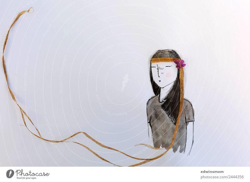 Hippie Freizeit & Hobby Basteln zeichnen feminin 1 Mensch T-Shirt Accessoire schwarzhaarig langhaarig Papier Dekoration & Verzierung Holz atmen genießen stehen
