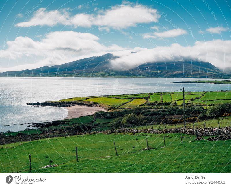 Brandon Point - Irland Himmel Natur Ferien & Urlaub & Reisen Sommer blau grün Landschaft Wolken Strand Ferne Berge u. Gebirge Frühling Wiese Küste Tourismus