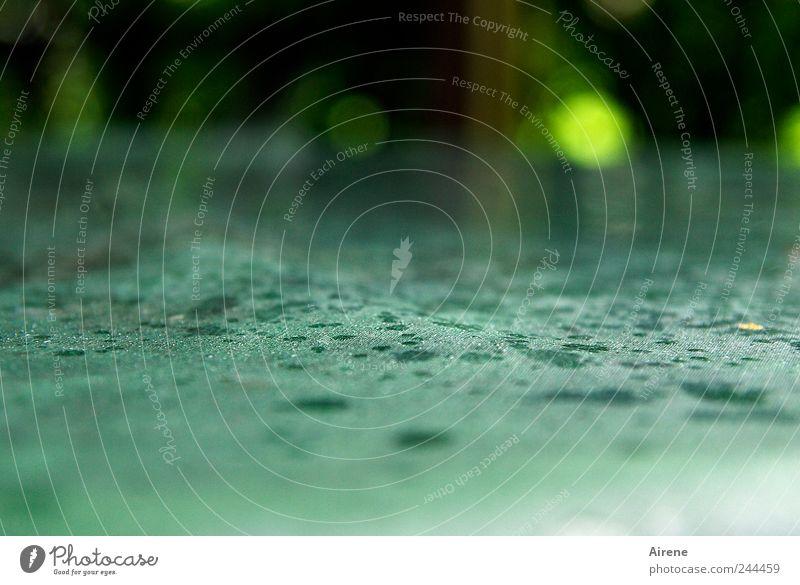 Heute KEIN Frühstück im Freien! Wasser grün Sommer schwarz Garten Regen Wetter nass Wassertropfen Tisch trist Tropfen Kunststoff türkis Terrasse weinen