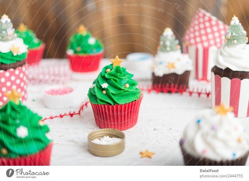 Muffin Weihnachtsbaum Lebensmittel Dessert Frühstück Kaffeetrinken Festessen Fastfood Dekoration & Verzierung Tisch Feste & Feiern Geburtstag Verpackung Holz