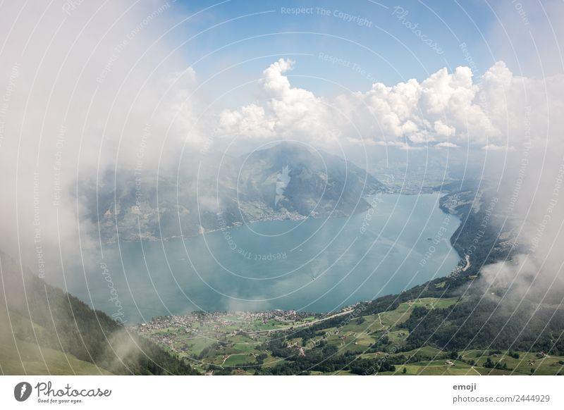 Blick vor dem Aufstieg zum Buochserhorn (CH) Natur Sommer blau grün Landschaft Wolken Berge u. Gebirge Umwelt natürlich Tourismus außergewöhnlich See wandern