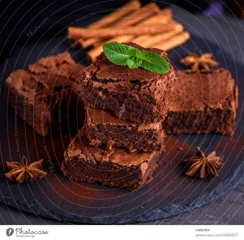 gebackener Schokoladenkuchen Kuchen Dessert Süßwaren Ernährung Essen dunkel frisch lecker oben weich braun schwarz Brownies Stapel Hintergrund gebastelt süß
