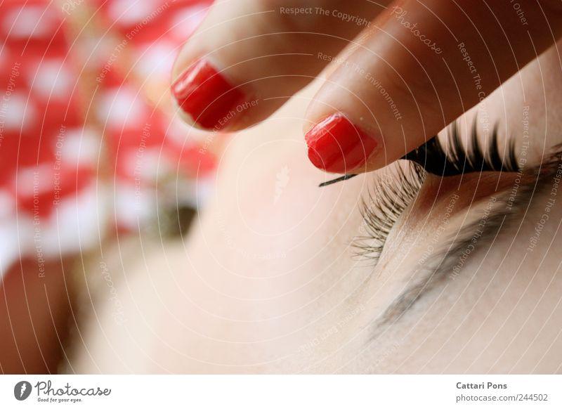 get rid of the fake lashes Frau Jugendliche schön rot Gesicht Auge feminin Stil Erwachsene elegant nah einzigartig festhalten berühren Kunststoff