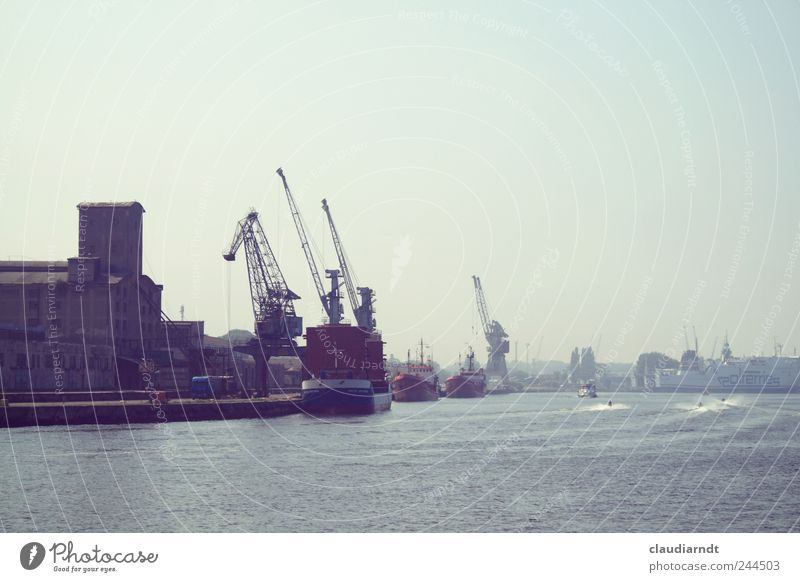 Danziger Hafen Gdánsk Polen Hafenstadt Gebäude Schifffahrt Containerschiff Güterverkehr & Logistik Wasserfahrzeug Kran Hafenkran Hansestadt Pastellton Skyline