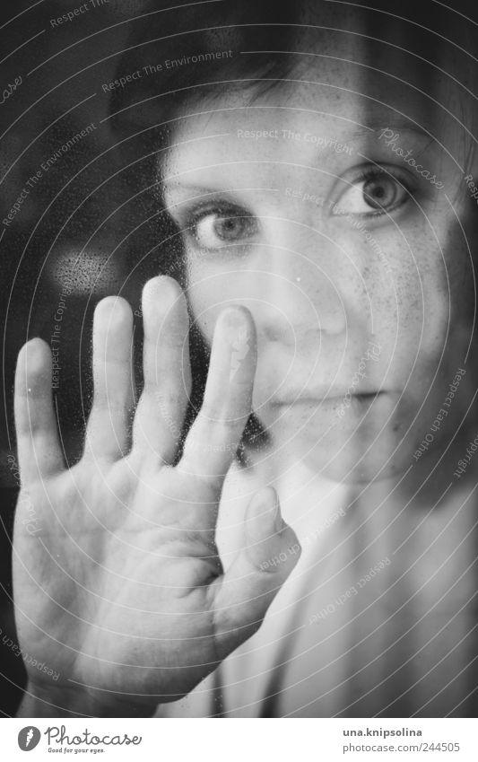 hold on feminin Junge Frau Jugendliche Erwachsene 1 Mensch 18-30 Jahre Fenster Tür Glas berühren festhalten träumen Traurigkeit Gefühle Stimmung Vertrauen Sorge