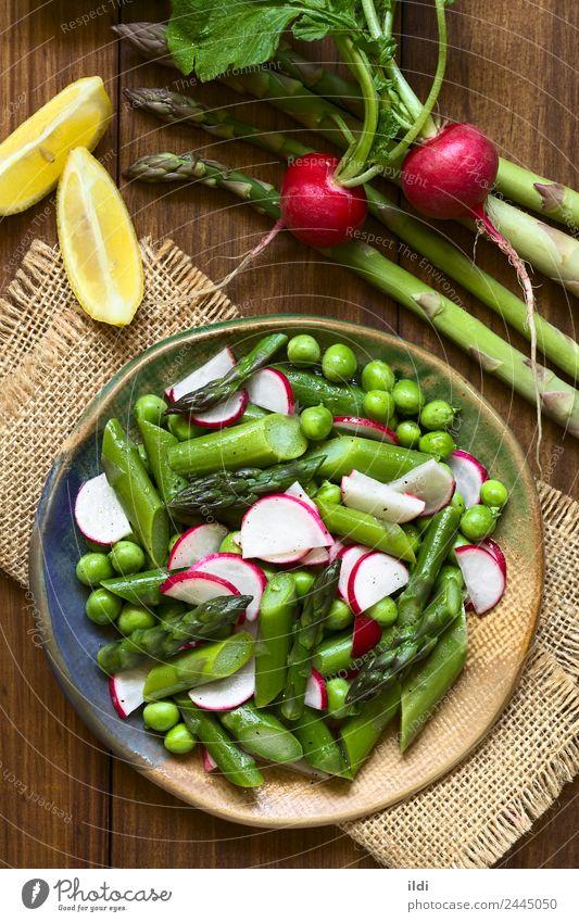 Grüner Spargelrettich und Erbsensalat Gemüse Mittagessen Abendessen Vegetarische Ernährung frisch Gesundheit natürlich Lebensmittel Salatbeilage Rettich roh