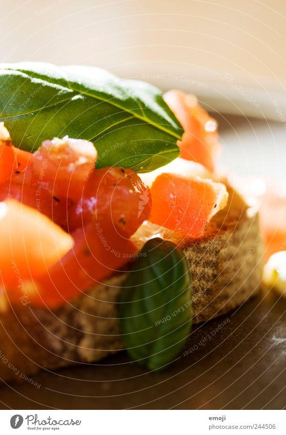 Bruschetta II rot Ernährung frisch Gemüse lecker Brot Abendessen Tomate Diät Bioprodukte Mittagessen Brötchen Vegetarische Ernährung Basilikum Fingerfood Italienische Küche