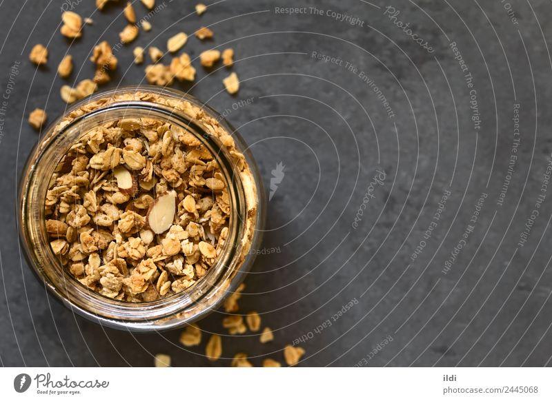 Knuspriges Granola Getreide Dessert Ernährung Frühstück natürlich Lebensmittel Müsli knackig Hafer Haferflocken Flocken Mandel süß Snack Gesundheit Mahlzeit