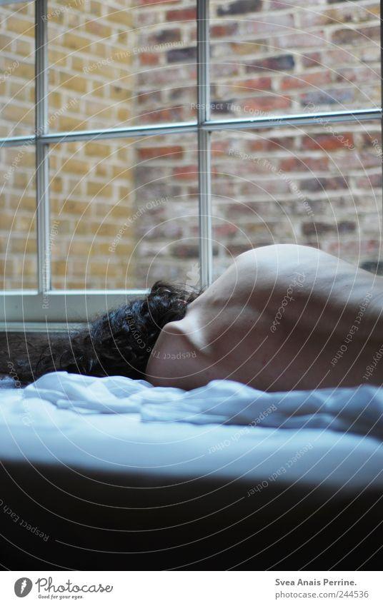 abgekehrt. maskulin Körper Haut Rücken 1 Mensch 18-30 Jahre Jugendliche Erwachsene Mauer Wand Bett schlafen Schlafzimmer Matamoros Bettdecke Bettlaken Fenster