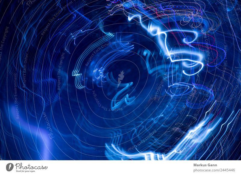 Bewegung abstrakt blau Design schwarz Kraft Hintergrundbild Großstadt Explosion Leuchtdiode Leuchtspur Licht Unschärfe Farbfoto Menschenleer Bewegungsunschärfe