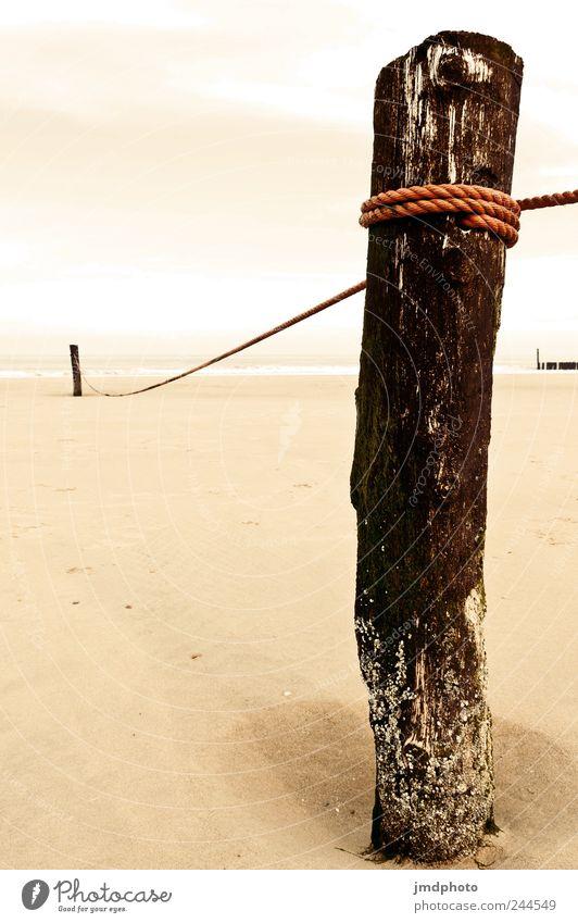 pfosten Natur Sommer Strand Meer Ferien & Urlaub & Reisen ruhig Wolken kalt Holz Sand Küste Kraft Seil Zufriedenheit Sicherheit Tourismus