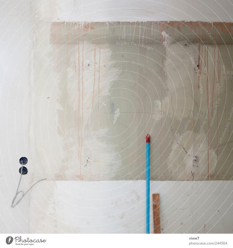 Renovierung Hausbau Renovieren Umzug (Wohnungswechsel) einrichten Raum Baustelle Werkzeug Besen Energiewirtschaft Mauer Wand Beton Streifen