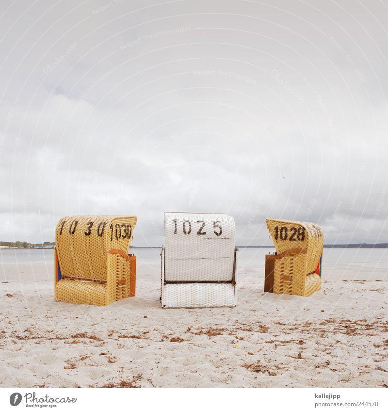 orakel Lifestyle Freizeit & Hobby Umwelt Natur Sand Luft Wasser Wolken schlechtes Wetter Wellen Küste Strand Bucht Ostsee Meer Sehnsucht Strandkorb eckernförde