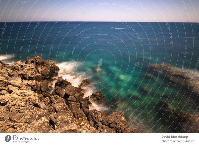 reeMMeer Ferien & Urlaub & Reisen Ausflug Sommer Sommerurlaub Insel Natur Landschaft Wasser Wolkenloser Himmel Schönes Wetter Felsen Küste Riff blau braun
