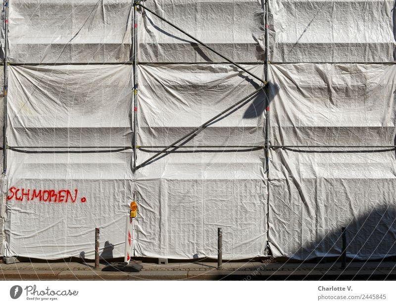 Schmoren   UT Dresden Renovieren Dekoration & Verzierung Baustelle Stadt Menschenleer Gebäude Baugerüst Poller Abdeckung Verpackung Beton Metall Kunststoff