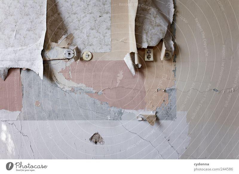 Farblich abgestimmt alt ruhig Farbe Wandel & Veränderung Vergänglichkeit verfallen Tapete Vergangenheit Umzug (Wohnungswechsel) Verfall schäbig Putz Riss Unbewohnt Schalter Steckdose
