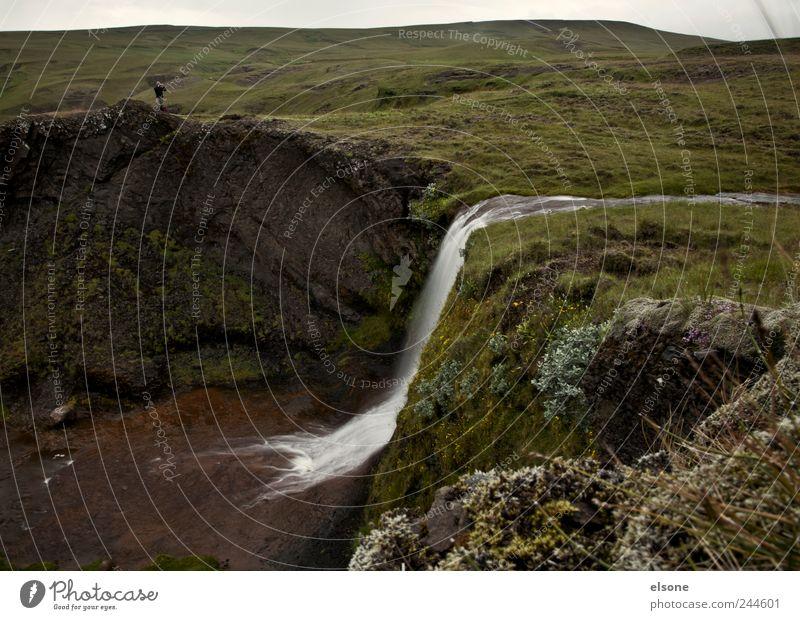 Hallo Island Mensch Natur Wasser grün schön Ferien & Urlaub & Reisen Einsamkeit ruhig Erholung Landschaft Wiese Berge u. Gebirge Bewegung braun Zufriedenheit