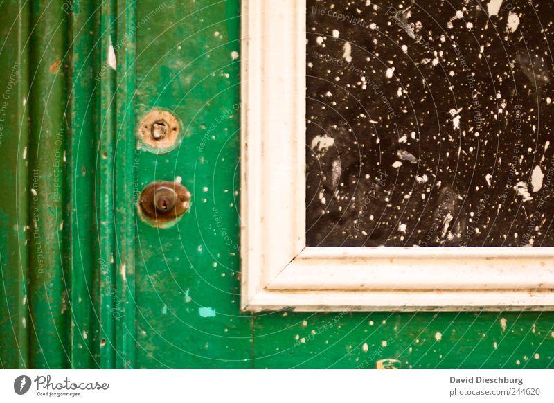 Details einer Tür grün weiß geschlossen alt rustikal Fenster Fensterscheibe Leiste dreckig Linie Farbe lackiert Schlüsselloch Detailaufnahme Farbfoto