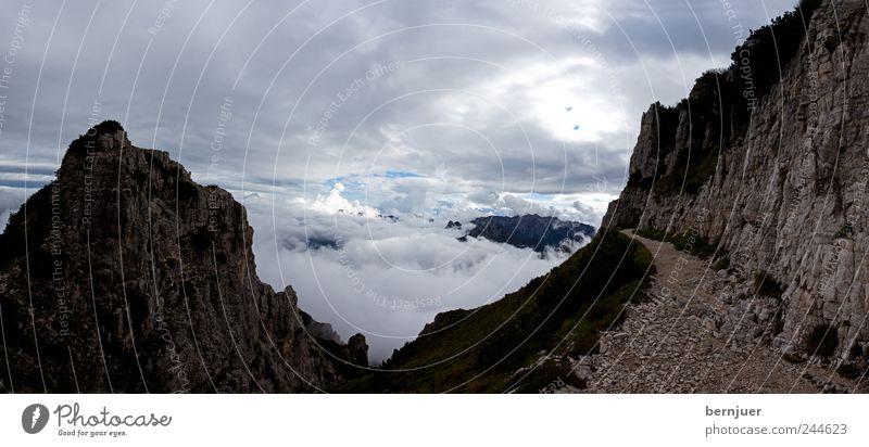 leuchtender Pfad Natur Landschaft Pflanze Sand Luft Wolken Gewitterwolken Sonnenaufgang Sonnenuntergang Sommer schlechtes Wetter Wind Felsen Alpen