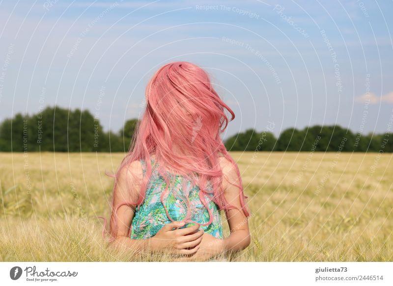 Pink summer | Rosa Haare - Lebensfreude und gute Laune feminin Mädchen Junge Frau Jugendliche Haare & Frisuren 1 Mensch 8-13 Jahre Kind Kindheit