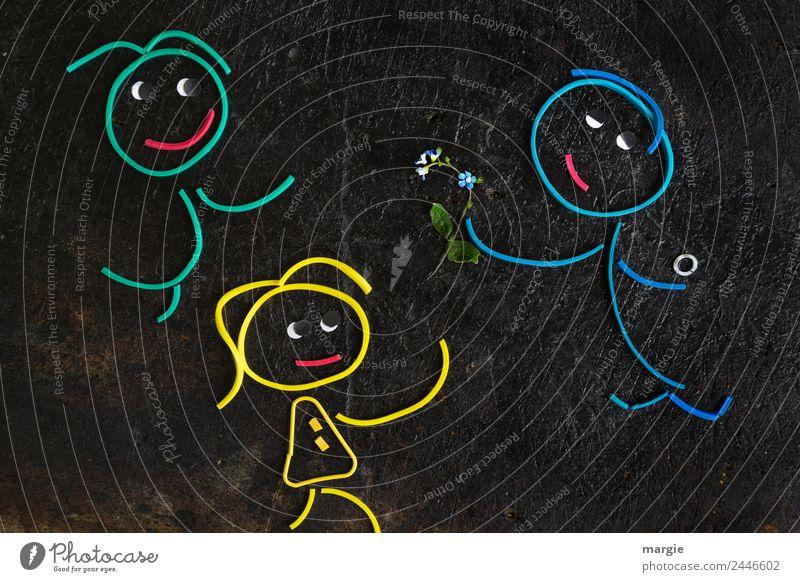 Gummiwürmer: Qual der Wahl Frau Mensch Mann blau grün schwarz Erwachsene gelb feminin maskulin