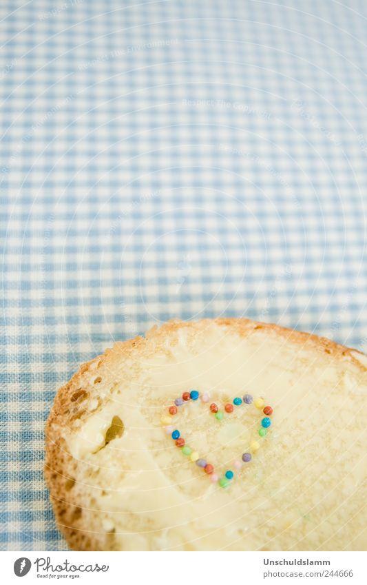 Butterbrotliebe blau weiß Freude Liebe lustig Stil Feste & Feiern Ernährung Kindheit Herz Fröhlichkeit Dekoration & Verzierung Lifestyle einzigartig Kreativität Kitsch