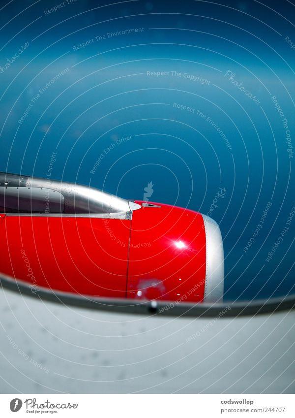 thunderbird 3 Lifestyle Ferien & Urlaub & Reisen Technik & Technologie Luftverkehr Flugzeug Passagierflugzeug im Flugzeug fliegen blau rot silber Flugangst