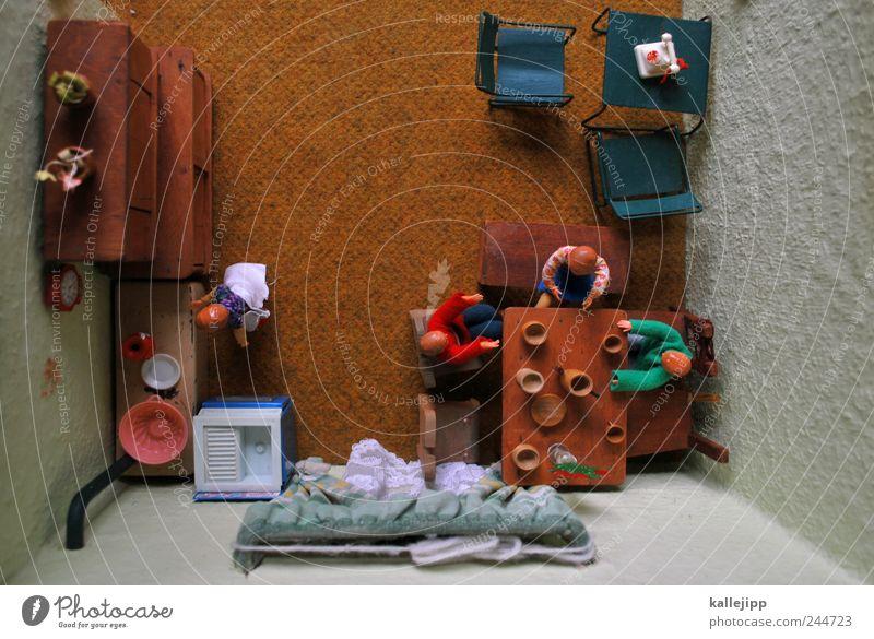 guten morgen! Mensch Kind Erwachsene Leben Innenarchitektur Familie & Verwandtschaft Raum Wohnung Tisch Häusliches Leben Mutter Stuhl Küche Spielzeug Möbel Vater