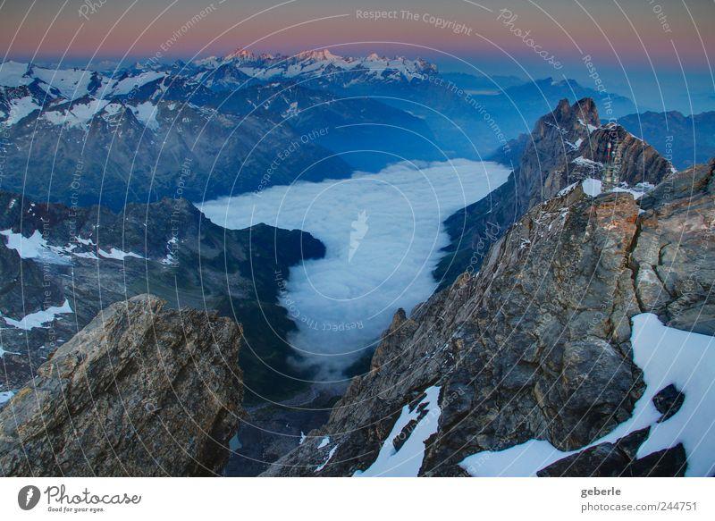 Welt, da unten. Ferne Berge u. Gebirge Sonnenaufgang Sonnenuntergang Alpen Schneebedeckte Gipfel oben blau gold grau aufwachen erhaben Farbfoto Außenaufnahme