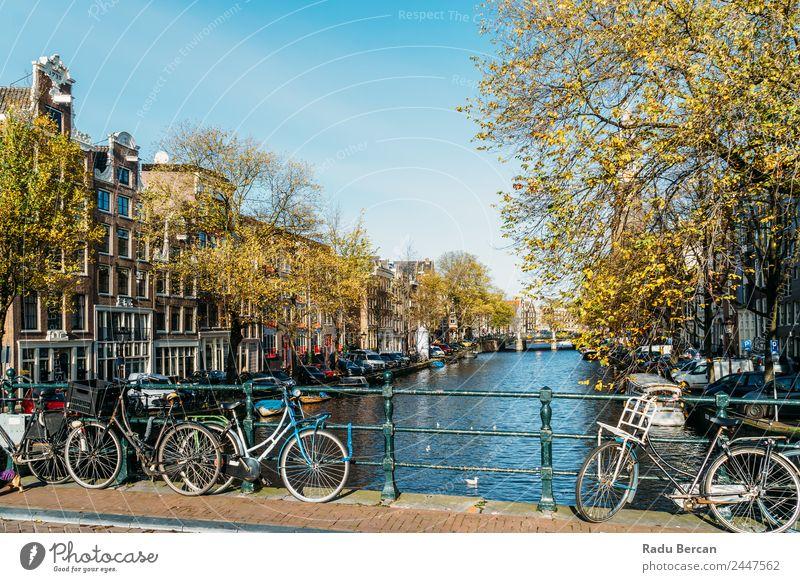 Schöne Architektur niederländischer Häuser am Amsterdamer Kanal Lifestyle elegant Stil Design Ferien & Urlaub & Reisen Tourismus Städtereise Häusliches Leben