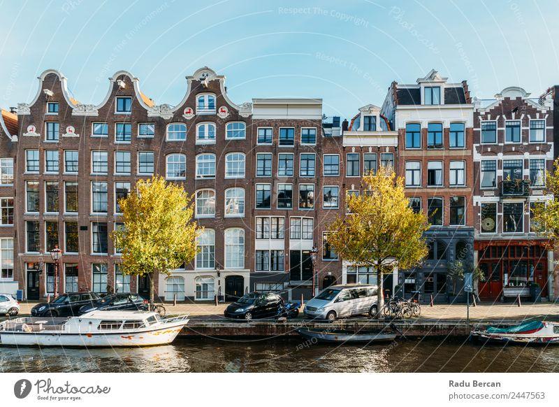 Schöne Architektur niederländischer Häuser und Hausboote Stil Ferien & Urlaub & Reisen Tourismus Abenteuer Städtereise Kultur Landschaft Wasser Himmel Herbst