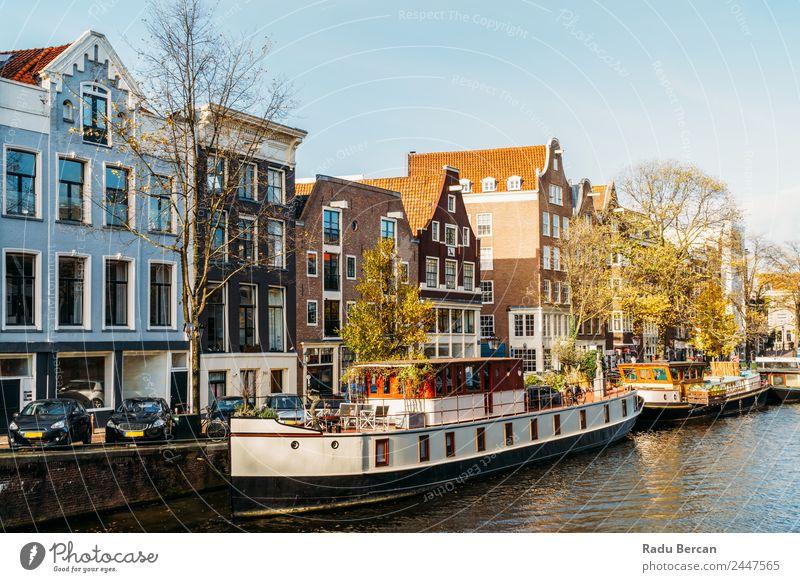 Architektur niederländischer Häuser und Hausboote am Amsterdamer Kanal Stil schön Ferien & Urlaub & Reisen Tourismus Ausflug Abenteuer Sightseeing Städtereise