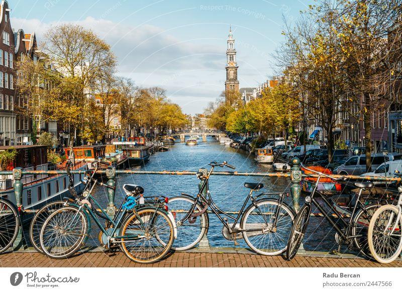 Architektur niederländischer Häuser und Hausboote am Amsterdamer Kanal Stil Ferien & Urlaub & Reisen Tourismus Ausflug Sightseeing Städtereise Sommer