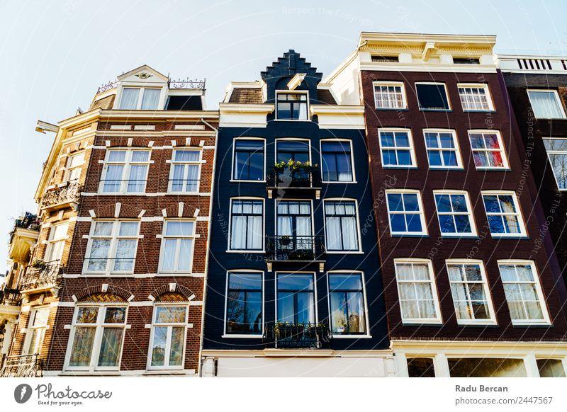 Schöne Architektur niederländischer Häuser am Amsterdamer Kanal elegant Stil Design Ferien & Urlaub & Reisen Tourismus Sightseeing Städtereise Sommer