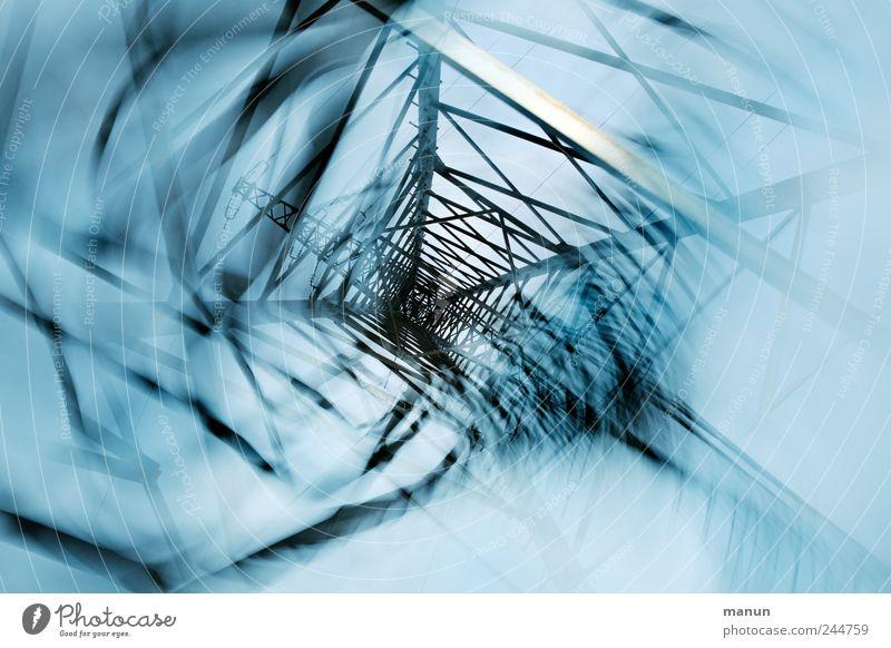 Stromschnellen Technik & Technologie Energiewirtschaft Elektrizität Strommast außergewöhnlich eckig kalt blau bizarr chaotisch skurril Surrealismus Verwirbelung